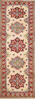 IVORY Super Kazak Geometric Oriental Runner Rug Hand-Knotted Wool 3x8 ft Carpet