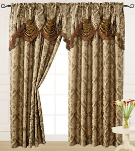 """Luxury Jacquard Curtain Panel with Attached Waterfall Valance 54"""" X 84"""" Ashley"""