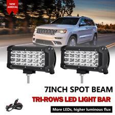 "2pcs 7"" 252W PHILIPS Triple Rows Spot Beam LED Work Light Bar SUV UTE ATV Motor"