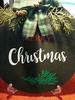"""New Merry Christmas Hand-Crafted Painted Wooden Plaque w/stand 12"""" Diameter  252"""
