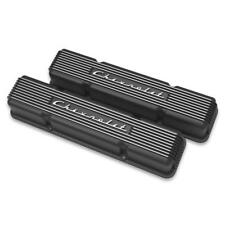 Holley Engine Valve Cover Set 241-108; Black Satin for Chevy 262-400 SBC