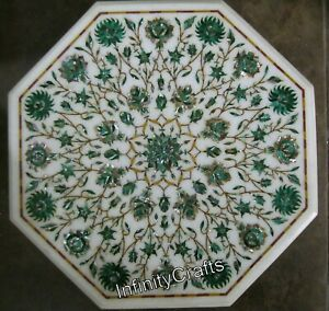 18 Inches Marble Inlay Side Table Top Vintage Art with Malachite Coffee Table