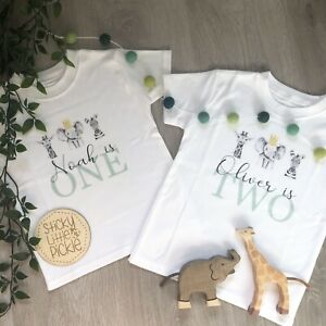 Safari Jungle Personalised Birthday T-Shirt - Any Age - Wild One Two Wild First