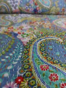Indian Cotton Paisley Print Kantha Bedspread Handmade Quilt Throw Twin Gudri