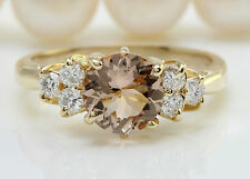 Women Natural Peach Morganite and Diamond 2.40 CTW in 14K Solid Yellow Gold Ring