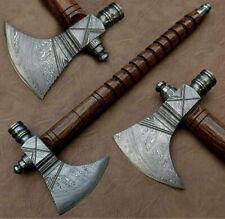 Custom HANDMADE FORGED DAMASCUS STEEL Axe TOMAHAWK, HATCHET,INTEGRAL. Pipe Axe