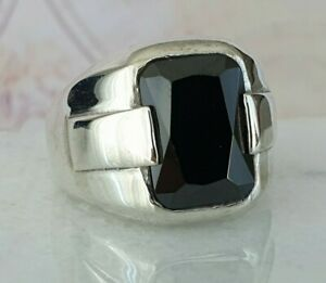 Solid 925 Sterling Silver Ring Black Agate Gemstone Handmade Ottoman Style