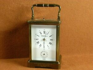 L'EPEE for TIFFANY & Co. PORCELAIN ALARM STRIKING REPEATER CARRIAGE CLOCK RUNS