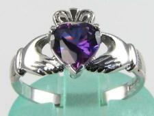 CLASS 9K WHITE GOLD HAND MADE AFRICAN HEART AMETHYST CLADDAGH RING FREE RESIZE
