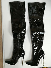 Truffle collection pvc patent overknee domina boots high heel metal UK3 EU36