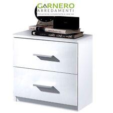 Comodino 2 cassetti moderno AMBRA  bianco lucido maniglie lineari camera letto