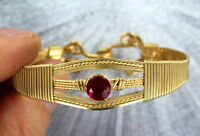RED RUBY SYNTHETIC  BRACELET TRIMMED IN 14KT ROLLED GOLD  WIRE WRAPPED SIZE 7