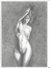 100% ORIGINAL Nude Female DRAWING Pincel Fine Art naked woman Standing Girl