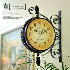 Antique Double Sided Wall Clock Garden Hallway Outdoor Station Mount Clock L