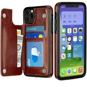 iPhone Case Wallet 11 / 12 Pro / Max Cover Leather Magnetic Kickstand for Apple
