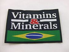 "Vitamins And Minerals Brazil Flag 4""X2.5"" Patch Bjj Mma Nhb Vale Tudo Fight Judo"
