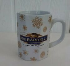 New listing Ghirardelli Houston Harvest Chocolate Coffee Octagon Cup Mug Gold Snowflakes