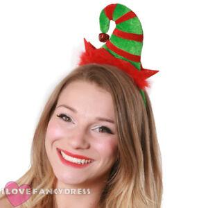 MINI ELF HAT ON HEADBAND WITH JINGLE BELL CHRISTMAS FANCY DRESS XMAS PARTY
