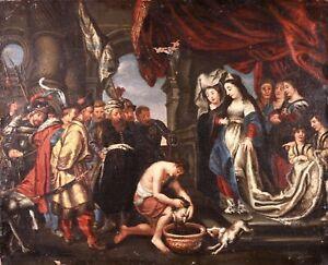 17th CENTURY HUGE RUBENS SCHOOL OIL CANVAS - HEAD OF SAINT JOHN PRESENTED SALOME