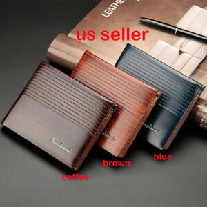 Men's Men Leather Wallet Pockets ID Credit Card Holder Clutch Bifold Purse Z