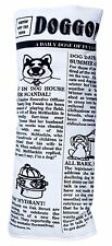 """PETQWERKS 9"""" CRINKLE DOGGY NEWSPAPER DOG TOY BLACK & WHITE. FREE SHIP TO THE USA"""