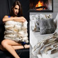 Luxury Farm Rabbit Fur Throw Pillow Case Sofa Waist Cushion Cover Noble Sale Bed