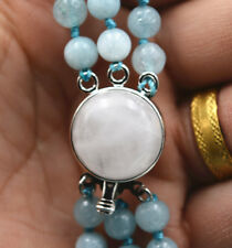 "New charming 3 rows 6mm Brazil Aquamarine Gemstone Necklace 17-19 """