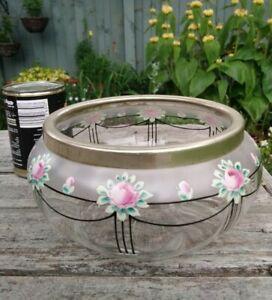 Vintage Art Deco Enamel Swag Rose Bud Silver Plate Cuff Fruit Salad Glass Bowl