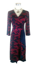 LEONA EDMISTON Dress - Vintage Style Navy Maroon Wrap Ruffle Belt Stretch - 10/M