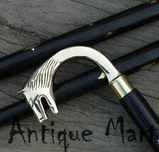 Brass Wooden Walking Cane Designer Wolf Brass Handle Walking Stick
