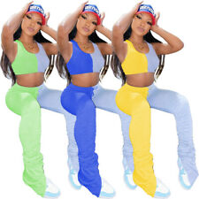New Women Stylish Sleeveless O Neck Color Patchwork Draped Sporty Jumpsuit 2pcs