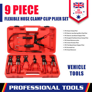 9-Piece Hose Clamp Pliers Kit Clip Remove Set Swivel Jaw Flat Angled Automotive