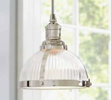 Chandelier Modern Industrial Pendant Light Ribbed Glass Nickel Iron Ceiling Lamp