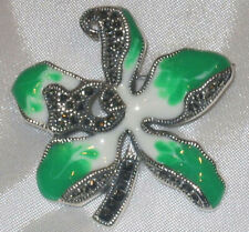 Sterling Silver Large Green & White Enamel Clover Leaf Pin Brooch w/ Marcasite