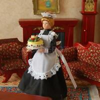 1:12th Doll House Dolls People Figures Victorian Servant Maid w. Stand