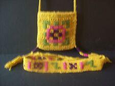 Vintage Hippie Boho 80's hand knit belt and shoulder bag with tassles