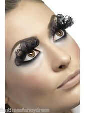 Long Black Lace False Eyelashes Lashes & Glue Lady Gaga Fancy Dress