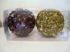2 GOLD BROWN BEAD & SEQUIN SHATTER RESISTENT ORNAMENTS CHRISTMAS DECORATIONS