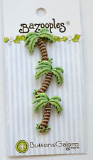 Palm Tree Shank Buttons / 3D Bazooples ~ Buttons Galore / Tropical Beach