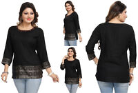 TOP WOMEN FASHION COTTON INDIAN 3/4 SLEEVES KURTA KURTI TUNIC SHIRT MM176 Black