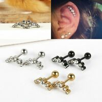 HOT Pair 16G Steel Ball Barbell Curved Eyebrow Ring Bar Tragus Ear Body Piercing