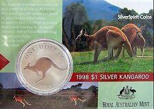 1998 KANGAROO SILVER 1oz Coin Carded
