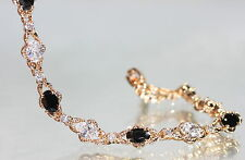 Created Oval Black Sapphire & Diamond Bracelet 19.5cm/ 7.67inches