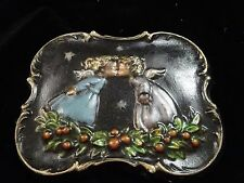 Vintage Retro CHRISTMAS Angels KISSING under the Stars CHALKWARE Wall Plaque