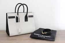 Saint Laurent Chalk White & Black Small Sac De Jour Bag