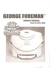 George Foreman GV5 - GV12  Contact  Roaster Manuals on cd