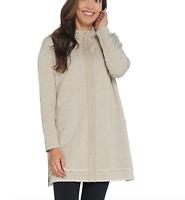 Dennis Basso Lurex Blend Knit Zip-Front Jacket - X-Small - Heather Grey
