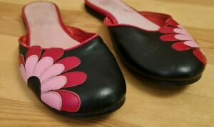 Shellys Shoes Vintage Leather Mules Slip On Flower Black, Red & Pink UK 6 - Fab!