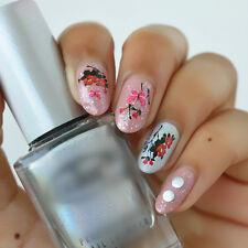 Nail Art Water Decals Pink Black Butterfly Oriental Japanese Flowers Gel Polish
