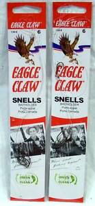 2 Packages of 6 Size 6 Eagle Claw Snelled Snells Bronze Baitholder Fishing Hooks